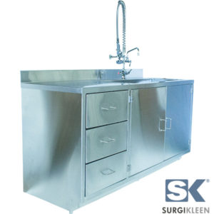 SurgiKleen Stainless Steel Cabinet with Sink and extended reach pre-rinse faucet front left view